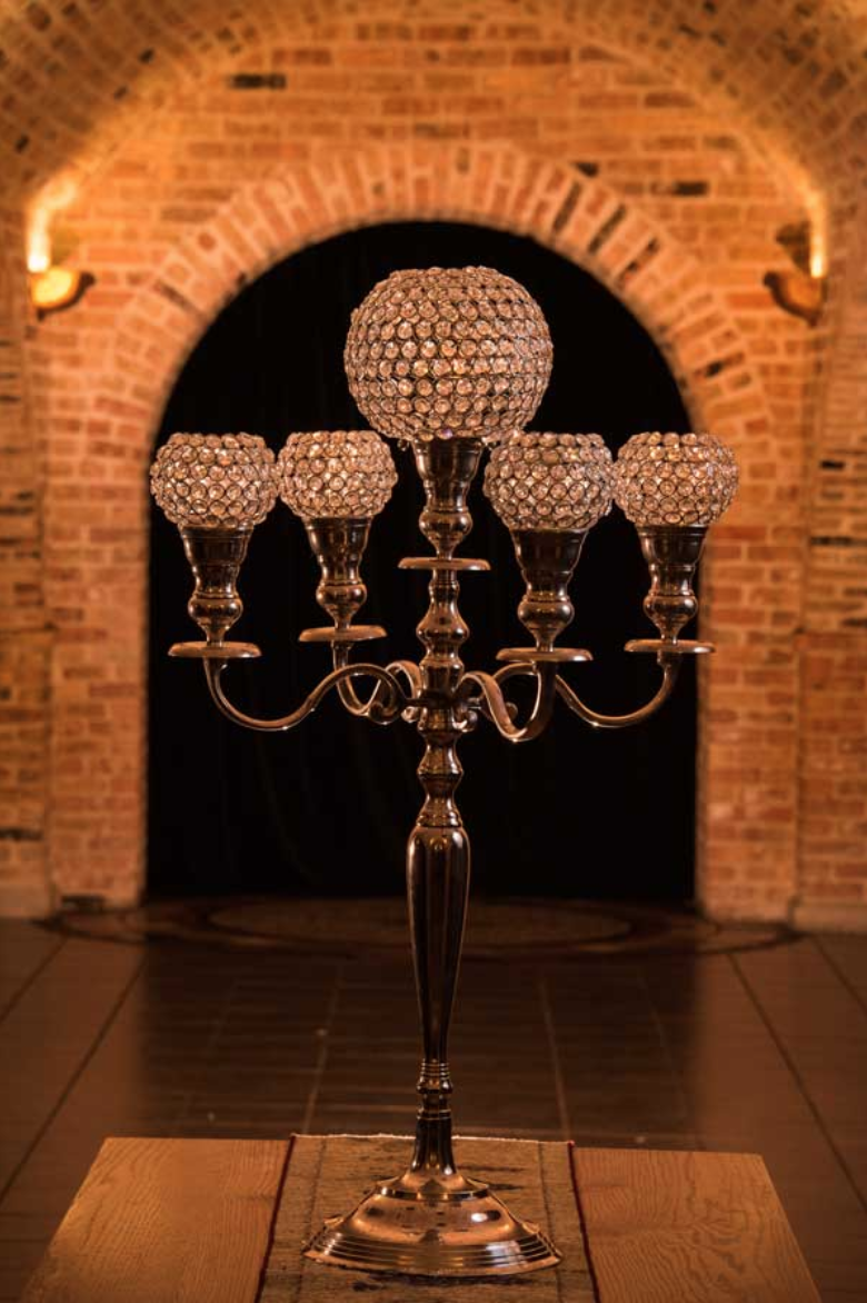 Silver Candelabra With Large Center Globe