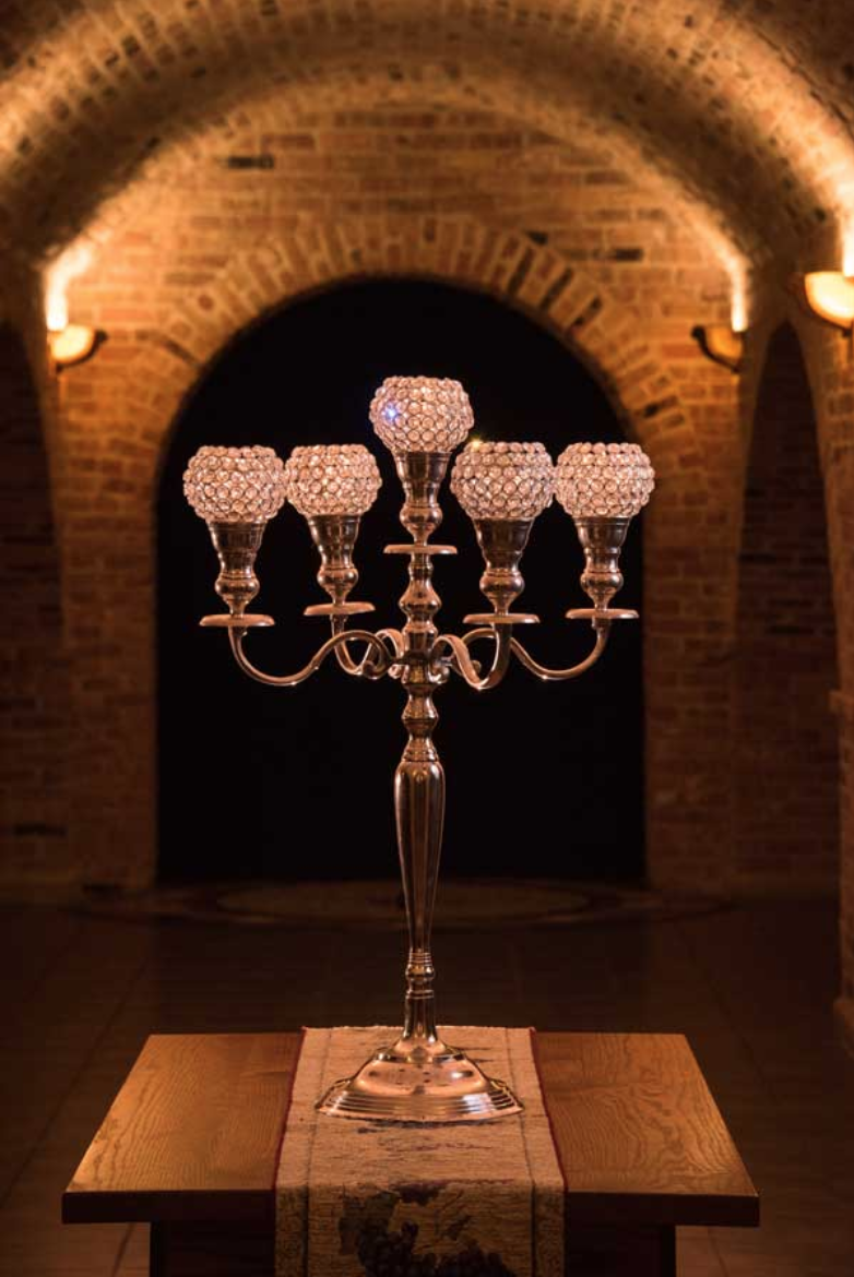 "Silver Candelabra With ""Bling Globes"""
